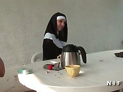 Anal French Nun Threesome