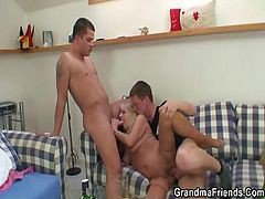 Granny Blonde Drunk Orgy Threesome