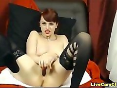 Black Flexible Stockings Squirt Redhead