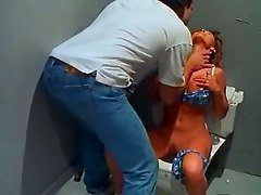 blond milf with hairy get banged in bathroom