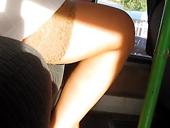 Bus Upskirt Stockings