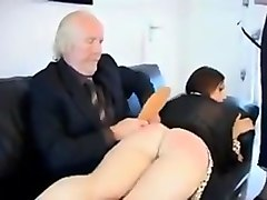 beautiful girl spanked by her dad and friend